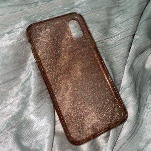 kate spade iphone x/xs pink glitter case